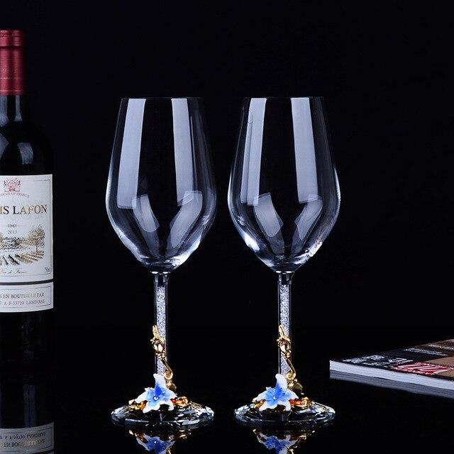 1 paire émail couleur vin verre tasses gobelet raisin cristal ensemble Europe Style grande capacité Champagne maison boisson cadeaux de mariage