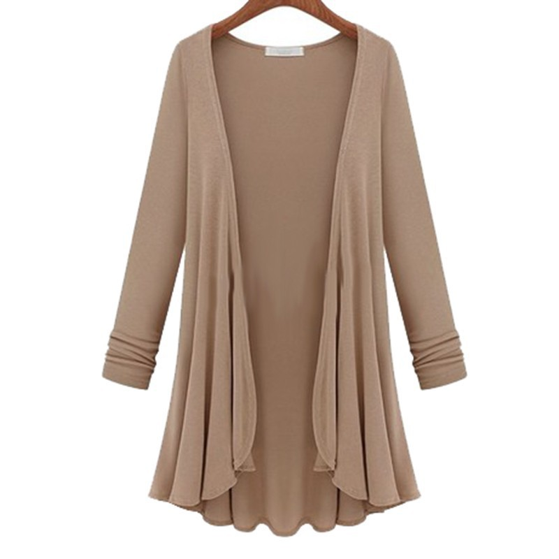 2018 Spring/Autumn Women's Loose Flounce Hem Line Long Sleeve Solid Thin Cardigan Coat Size XL-5XL Free Shipping & Wholesales