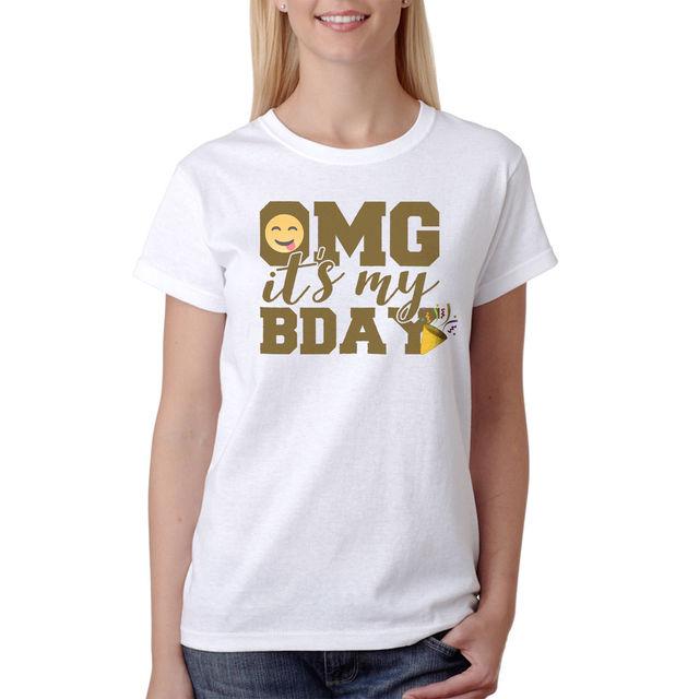 Omg Its My Birthday Emoji Images Womens White T Shirt NEW Sizes S XL