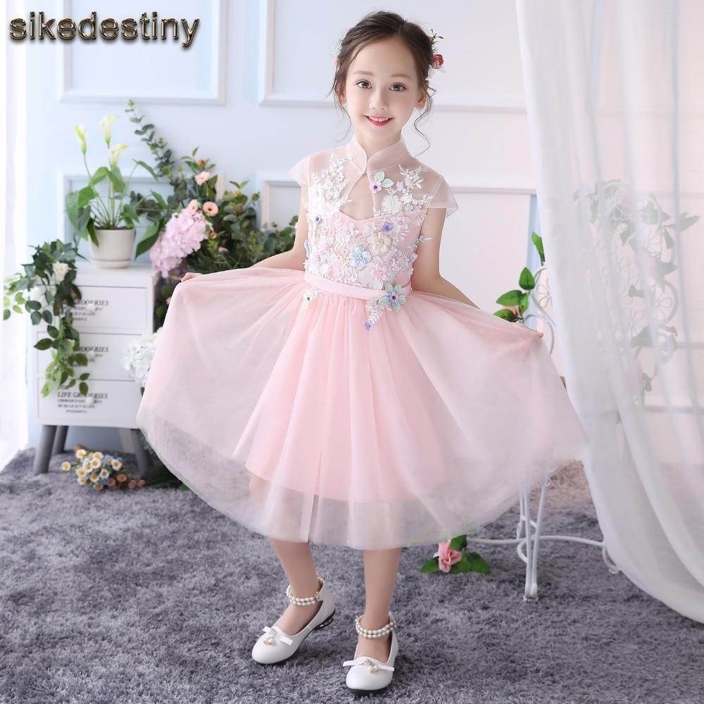 Sikedestiny Blumenmädchenkleider für Hochzeiten Rosa Prinzessin ...