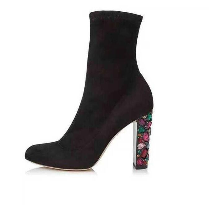 Ins Style Black Stretch Fabric High Heel Boots 2018 Newest Round Toe Thick Heels Ankle Boots Woman Colorful Crystal Party Shoe Ins Style Black Stretch Fabric High Heel Boots 2018 Newest Round Toe Thick Heels Ankle Boots Woman Colorful Crystal Party Shoe