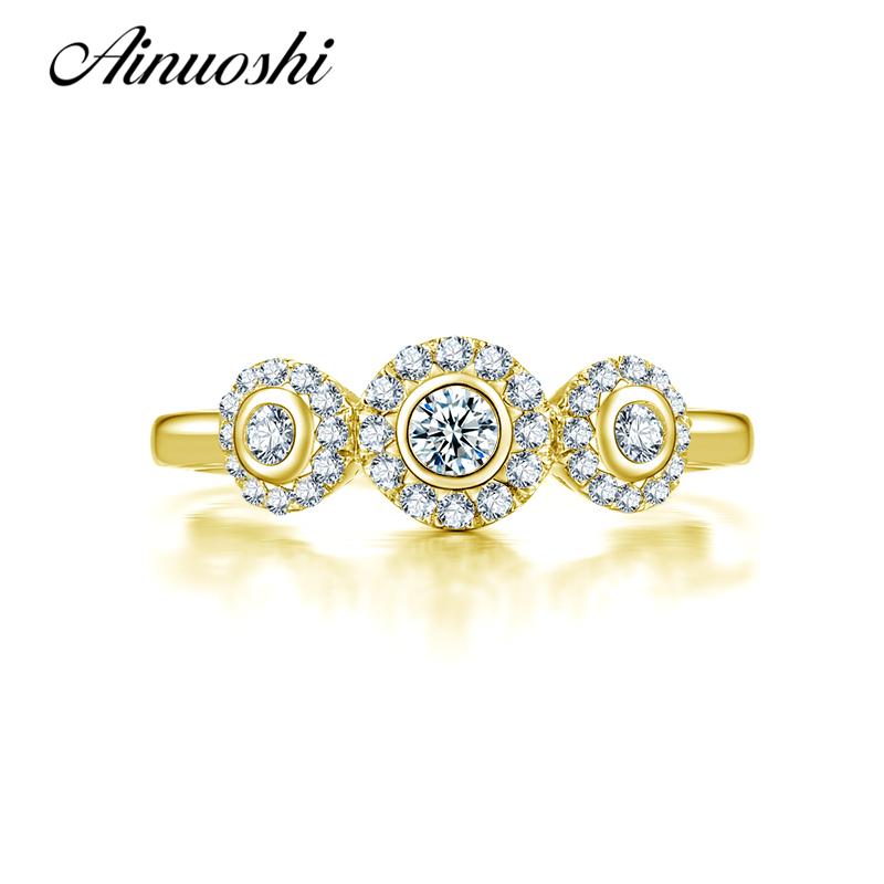 ainuoshi k slido oro amarillo de las mujeres anillos de boda diseo nico anillos mujer