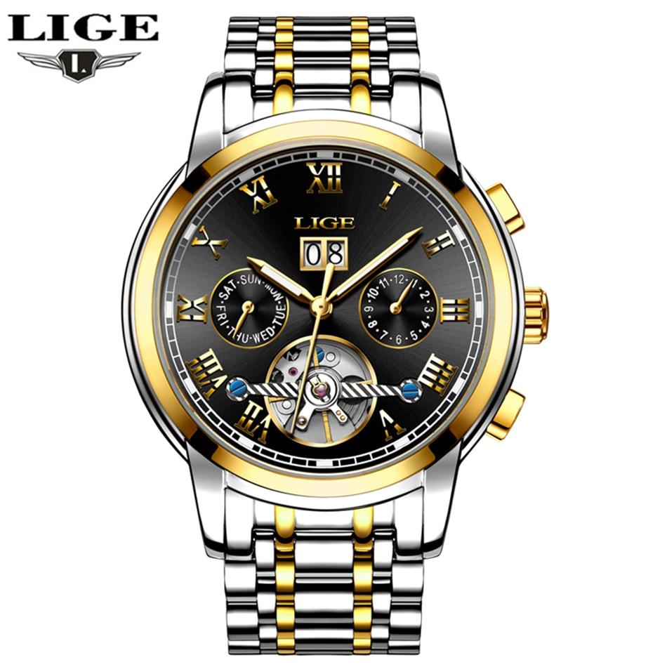 LIGE hommes montre top marque de luxe mécanique montre hommes affaires montre décontracté étanche sport en acier montre Relogio Mascu