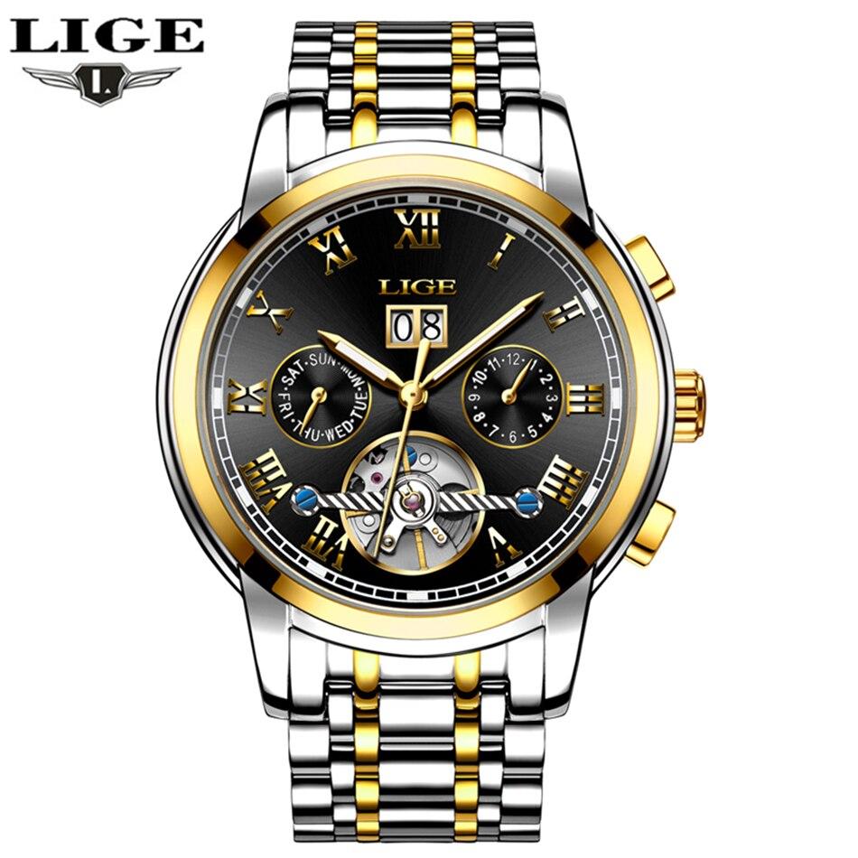 LIGE мужские часы лучший бренд роскошные механические часы мужские деловые часы модные повседневное водостойкие спортивные сталь Relogio Mascu
