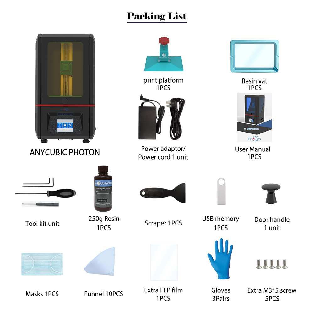 Image 5 - Anycubic Photon 3D Printer 2019 Plus Size SLA/LCD High Precision 2.8 photon Slicer Light Curing Impresora Imprimante 3d Kits-in 3D Printers from Computer & Office