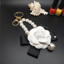 CX-Shirling Male&Female Car Bag cc Keychain White Camellia Flower Women Bag Charm Key Chain Car Key Bag Decoration Jewelry