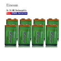 8 pcsEtinesan 9v 450mAh Ni MH Rechargeable 9 Volt NiMH Battery Batteries use Camera Toys Flashlight shaver, radio horn, fan