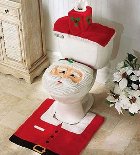 Christmas Home Decorations Santa Claus Costume Toilet Seat Cover Floor Mat  Washroom Accessories Set Bathroom Products