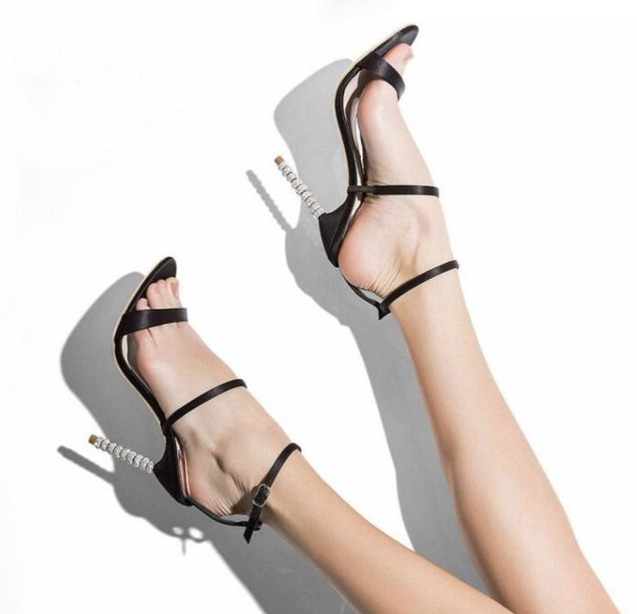 Newest Open Toe High heel Shoes Woman Summer Crystal Pearl Thin Heels Gladiator Sandals Women Cutouts Super High Dress Shoes