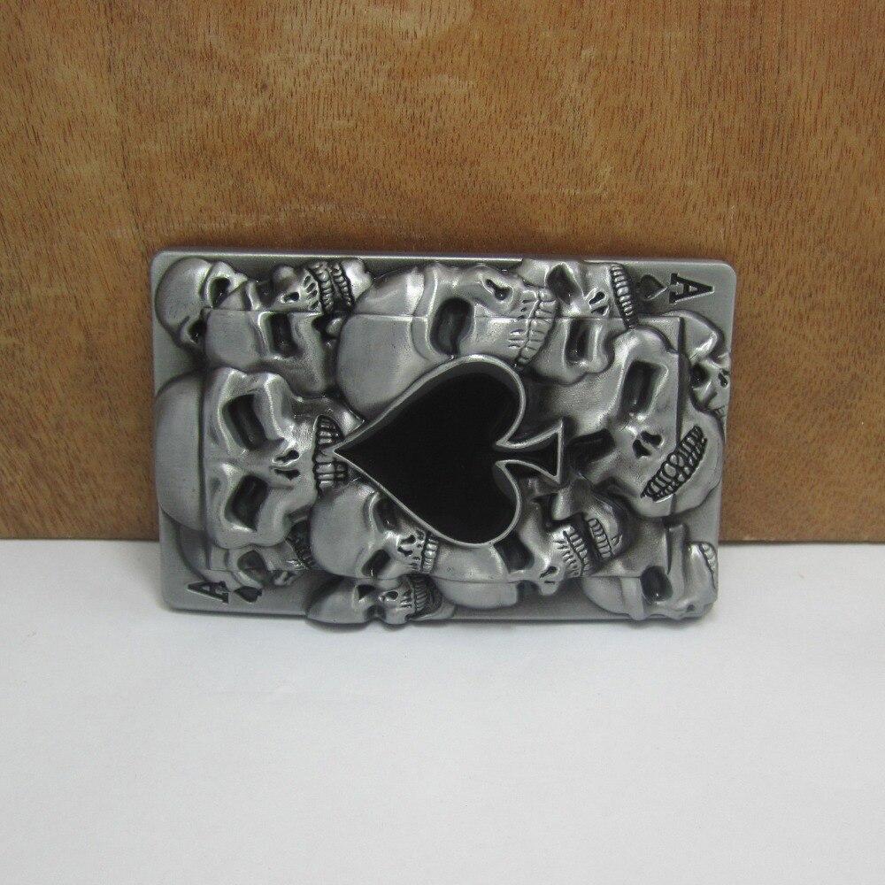 BuckleClub venta al por mayor de aleación de zinc de retro western cráneos tarjeta vaqueros regalo de hebilla de cinturón de FP-02189 para hombres 4 cm de ancho loop