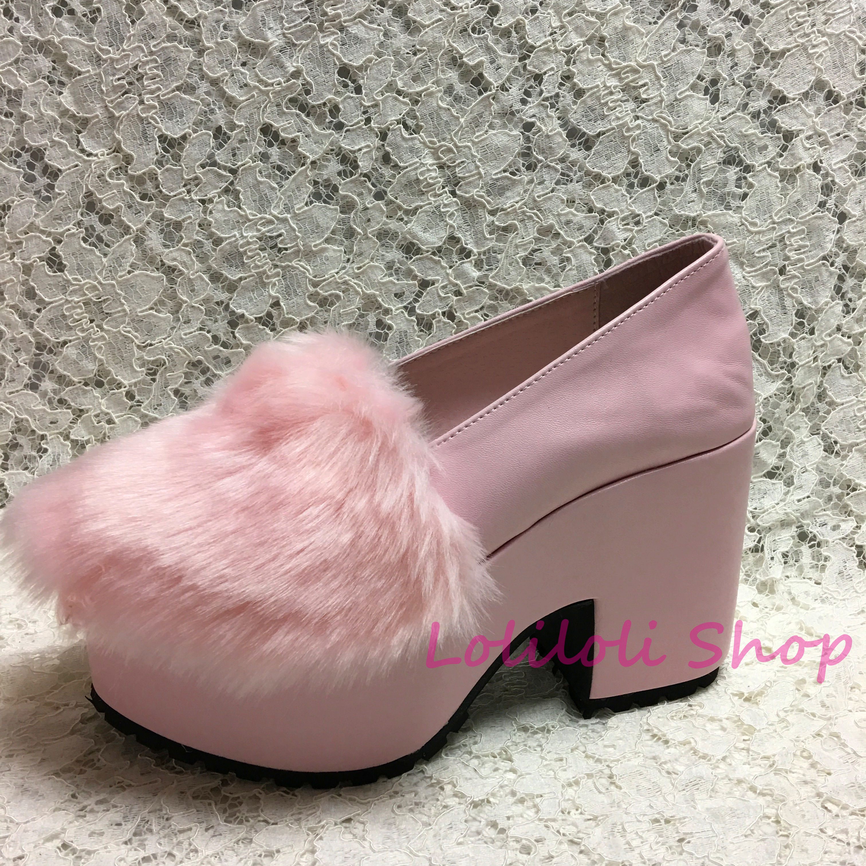 Princess sweet lolita shoes Loliloliyoyo antaina Japanese design cos shoe custom pink slip-on thick heel shoes with fluff  5002n