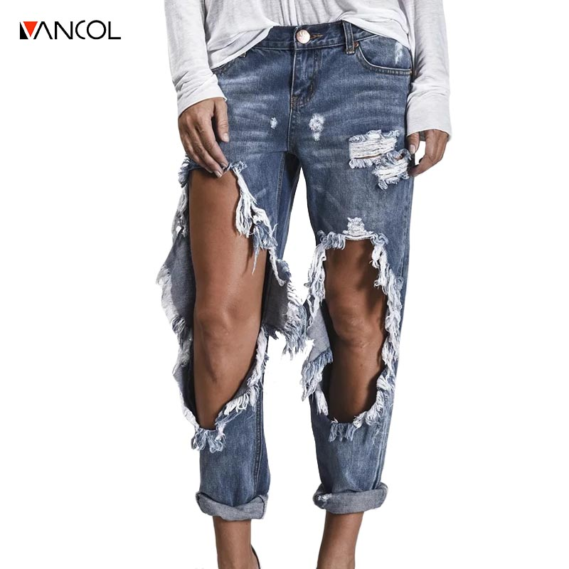 vancol high waisted Denim hole ripped ankle length female pants jeans washed vintage femme pancil pants