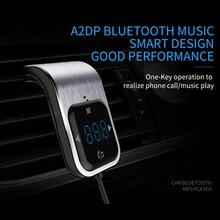 Głośnomówiący telefon nadajnik FM przycisk dotykowy samochodów MP3 LED zestaw samochodowy Bluetooth zestaw głośnomówiący MP3 odtwarzacz radiowy Adapter USB ładowarka samochodowa