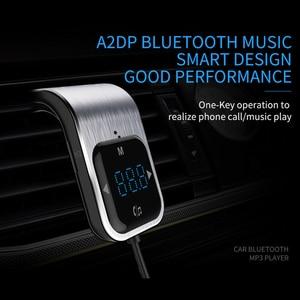 Image 1 - Trasmettitore FM Del Telefono a mani libere di trasporto Tasto di Tocco Auto MP3 LED Bluetooth Car Kit Vivavoce Lettore MP3 Radio Adattatore USB caricabatteria Da auto