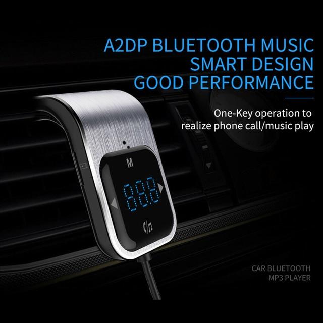 Trasmettitore FM Del Telefono a mani libere di trasporto Tasto di Tocco Auto MP3 LED Bluetooth Car Kit Vivavoce Lettore MP3 Radio Adattatore USB caricabatteria Da auto