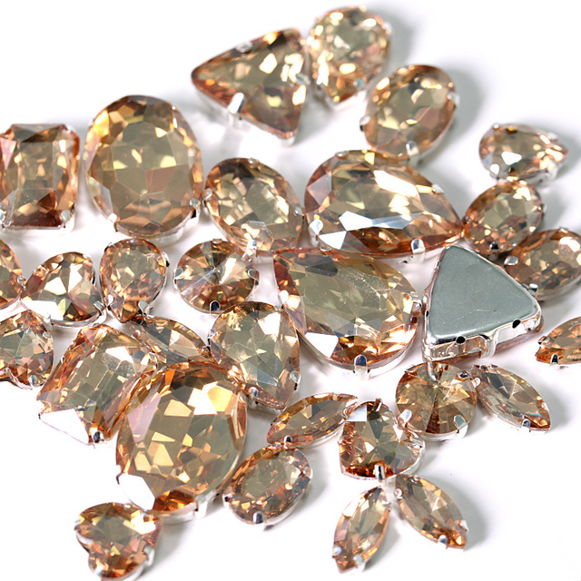 1646eae457 US $1.52 45% OFF|Gold Champagne Mixed Shapes Crystal Glass Sew On  Rhinestones With Claw Flatback Sewing Rhinestones For Garment Y3513-in  Rhinestones ...