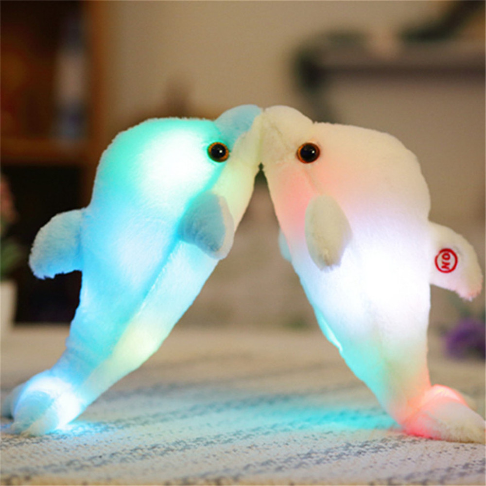 Glowing Pillow Creative Luminous Doll Animal Stuffed Plush Dolphin LED Light