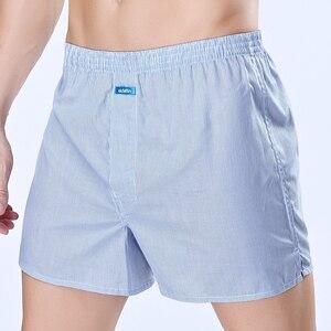 Image 5 - ¡Alta calidad! EkMlin Calzoncillos Bóxer de algodón tejido para hombre, 100% a cuadros de hilo peinado, transpirables, holgados, 4 unidades
