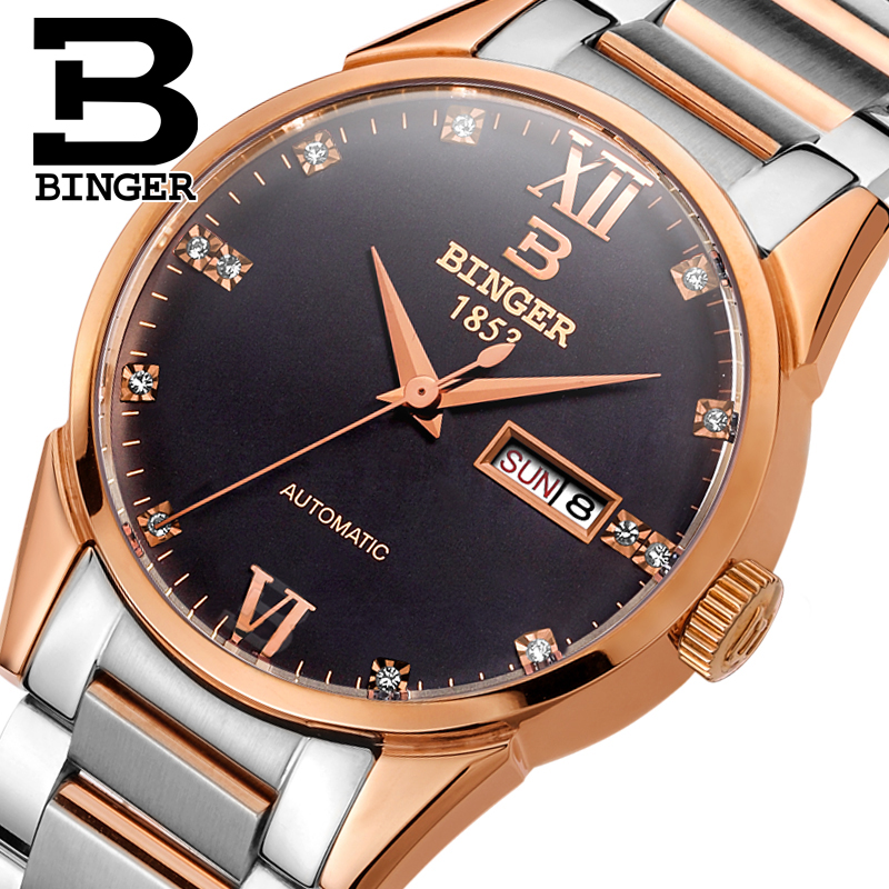 Switzerland men's watch luxury brand Wristwatches BINGER 18K gold Automatic self-wind full stainless steel waterproof  B1128-3 switzerland watches men luxury brand wristwatches binger luminous automatic self wind full stainless steel waterproof b 107m 1