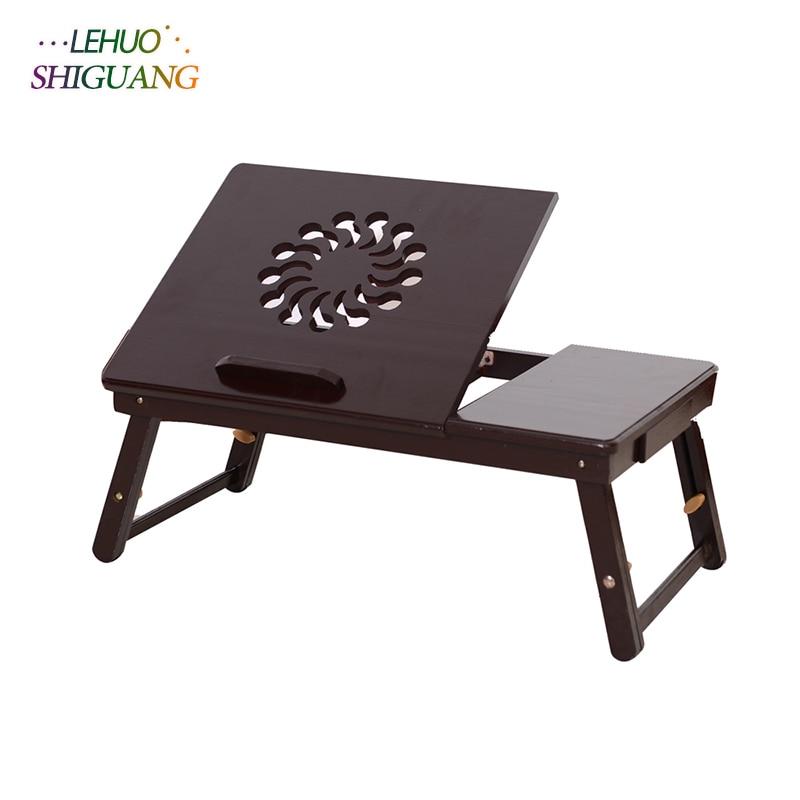 купить Student dormitory Bed desk Folding table Fashion Sunflower Engraving Pattern Adjustable Bamboo Computer Desk bedroom furniture по цене 1794.45 рублей