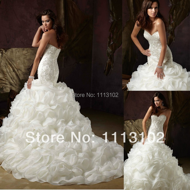 Romantic Luxurious Newest Gorgeous Exquisite Ruffle Wedding Gowns ...