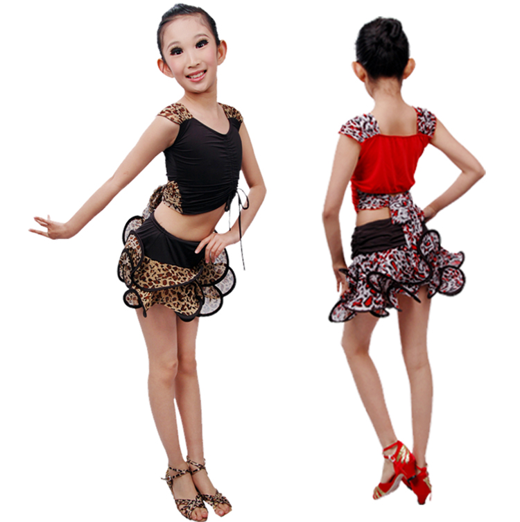Free Shipping New 2016 Arrival Special Girl Kid Latin Dance Dress Children's Latin Dance Performance Suits Leopard  Sexy Skirts