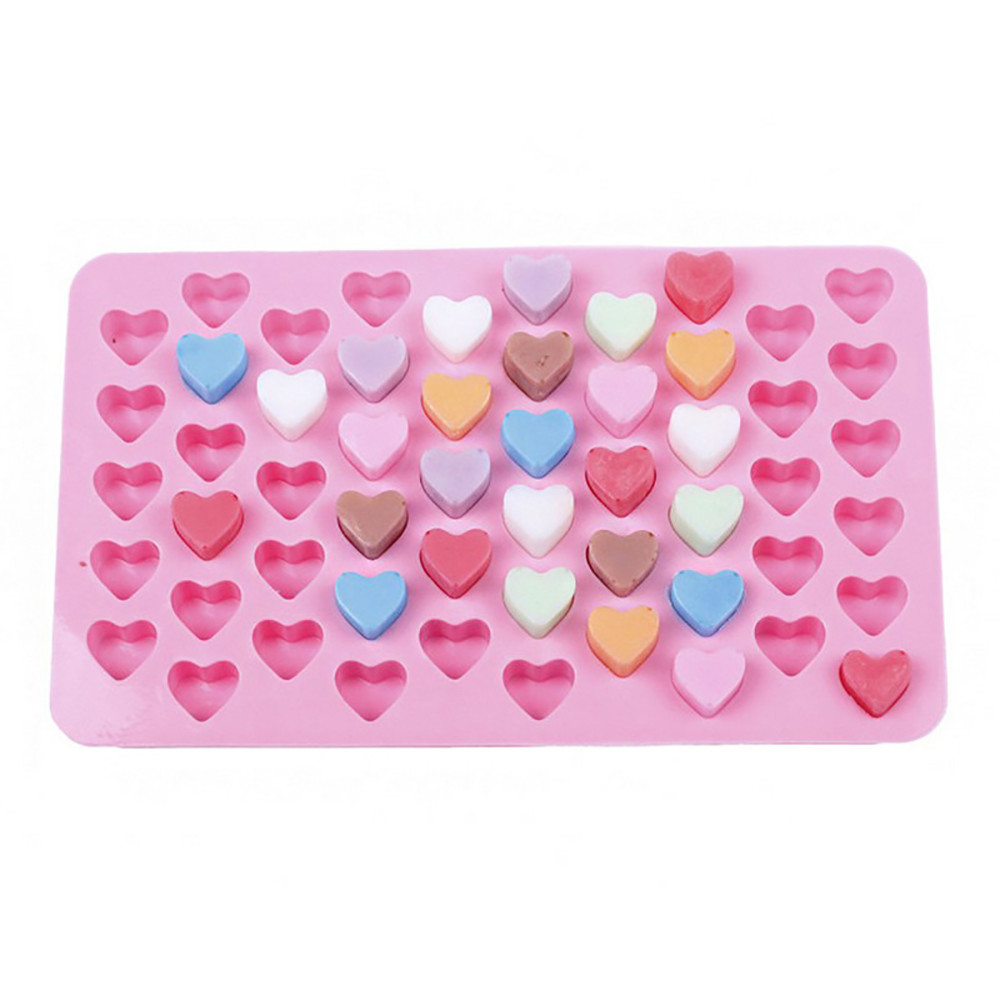 55 Holes Bake Cake Mold 1.5 Mini Heart Silicone Chocolate Fondant Jelly Cookie Muffin Ice Mould Flexible Moulds Cupcake Mold