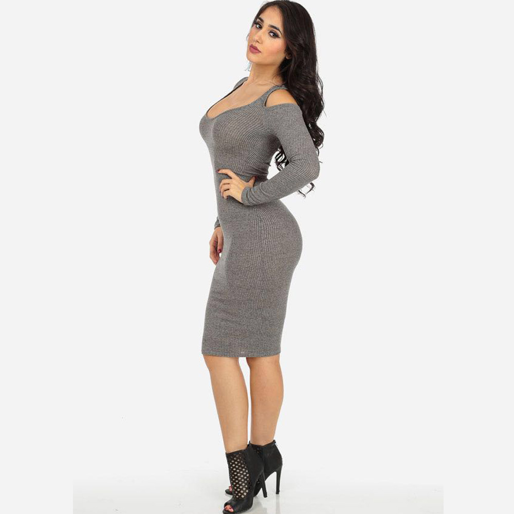 2759ea4a4d5d Sexy off shoulder grey bodycon dress long sleeved V collar exposed shoulder  party night club dresses wrap hip women dress