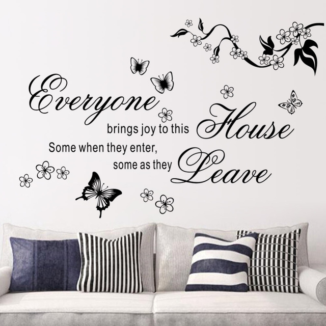 2017 New Bring Joys To This House Vinyl Wall Stickers Flower Quotes 8448 Butterfly Home Decor
