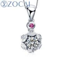 ZOCAI ожерелье и огонь серии 0.19 ct настоящий бриллиант h/SI 0.01 ct настоящий рубин 18 К золотой кулон 925 серебряные цепочки D8001T
