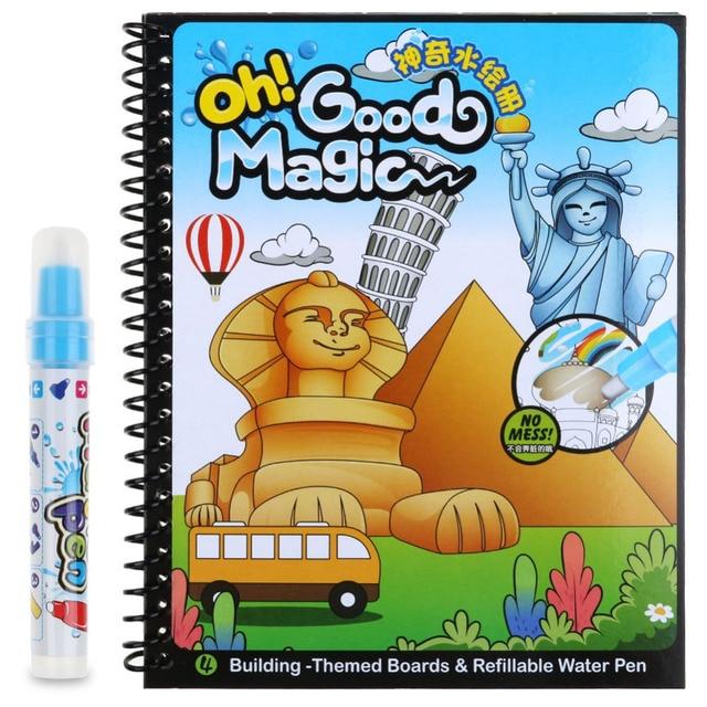 Kids water drawing book 1 magic pen learnning tool water painting book intimate coloring book water