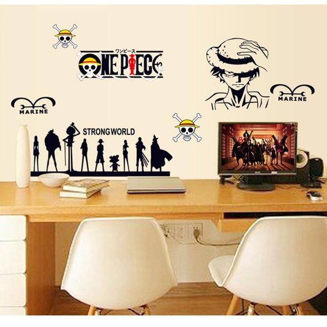 Großhandel ONE PIECE Cartoon Aufkleber Wandaufkleber Wohnzimmer  Schlafzimmer Computer Tische Dekorative Wandsticker Drop Shipping