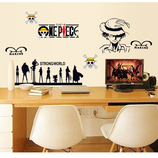 Wholesale ONE PIECE Cartoon Stickers Wall Stickers Living Room Bedroom  Computer Tables Decorative Wall Stickers Drop