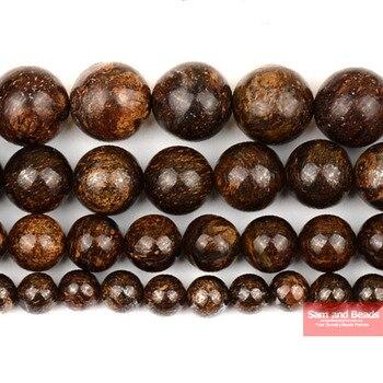 Бесплатная доставка, круглые бусины из натурального бронзита 4 мм, 6 мм, 8 мм, 10 мм, 12 мм, размер на выбор NBB01
