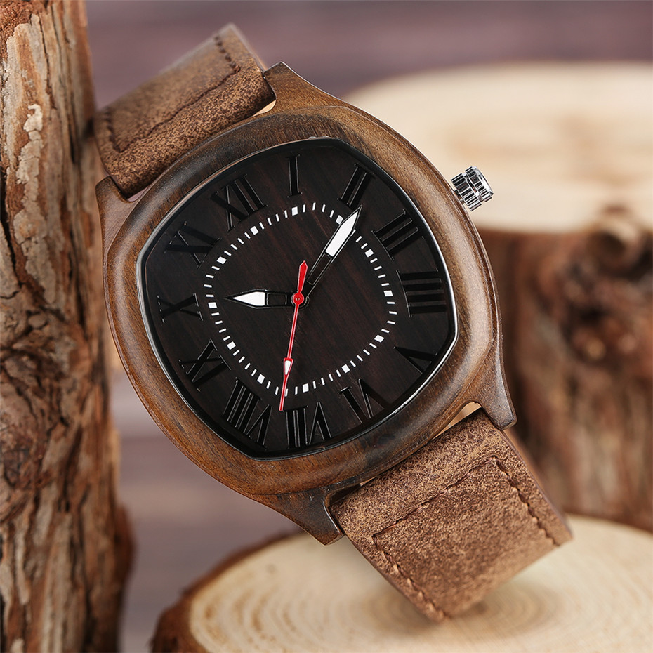 YISUYA Bamboo Wooden Watch Men Quartz Leather Band Analog Creative Watches Roman Numerals Dial Unqiue Shape Fashion Clock Gift (20)