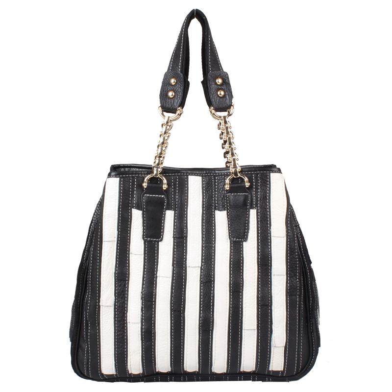 Free shipping Colorant match genuine leather handbag women's ramp collapsed package genuine leather black and white handbag genuine leather