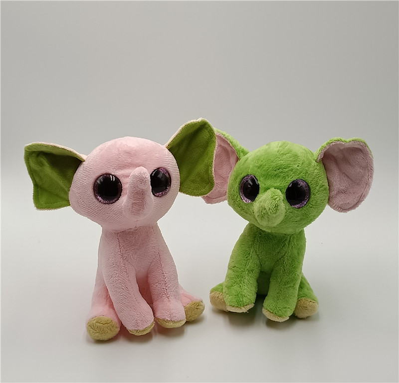 6 15cm Ty Beanie Boos Rabbit Unicorn Green Pink Elephant Plush