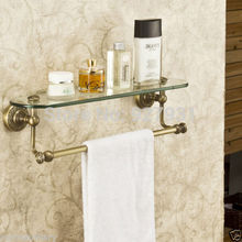 New Antique Brass Bathroom Single Tier Bathroom Glass Storage Rack Wall Mount Bathroom Shelf with Towel