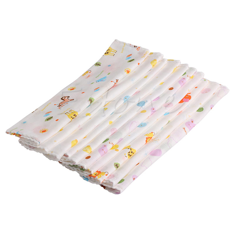 Baby Care 10Pcs NewBorn Gauze Muslin Square 100% Cotton Bath Wash Baby Handkerchief Towel Convenient