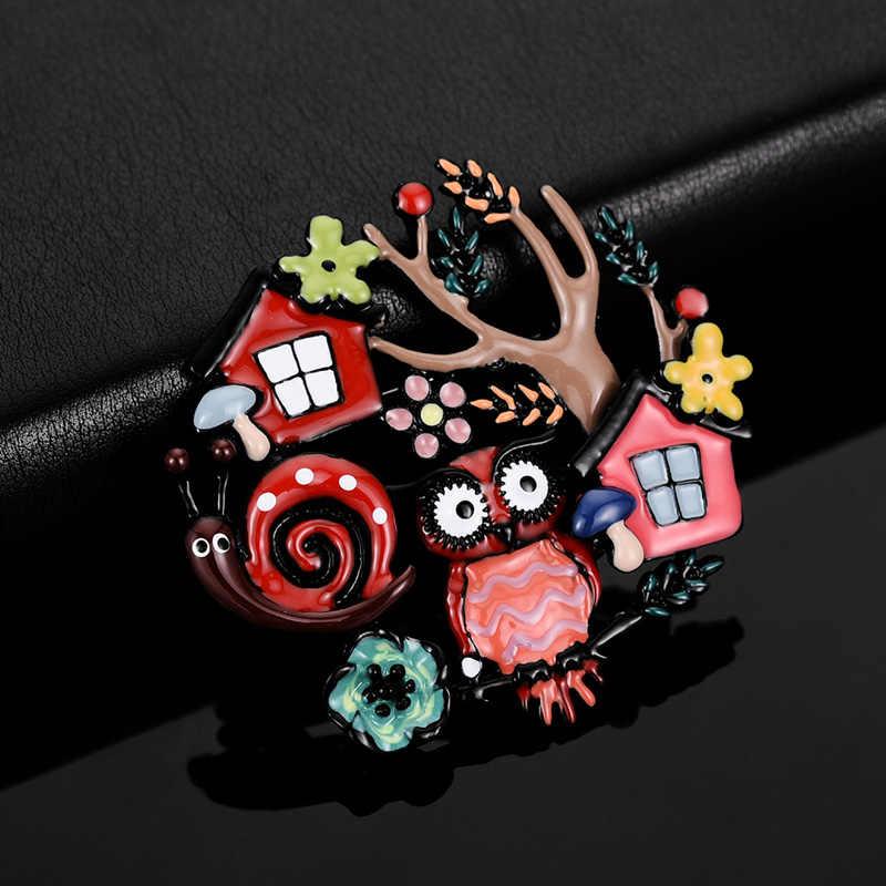 2019 カラフルなエナメルフクロウブローチヴィンテージジュエリー高品質漫画カタツムリ木ピン子供スカーフ服ピンブローチ女性のための