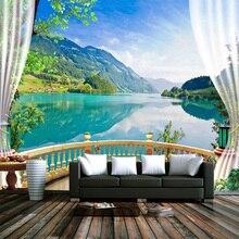 Пользовательские 3D фото обои балкон окно голубое небо белые облака озеро лес пейзаж гостиная диван ТВ фон настенная бумага