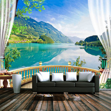 3D Wallpaper Balcony Window Blue Sky White Clouds Lake Forest Scenery
