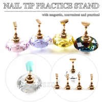 1set/lot Magnetic Nail Holder Practice Training Display Stand Acrylic Crystal Holders Nail Tip Salon DIY Manicure Tools