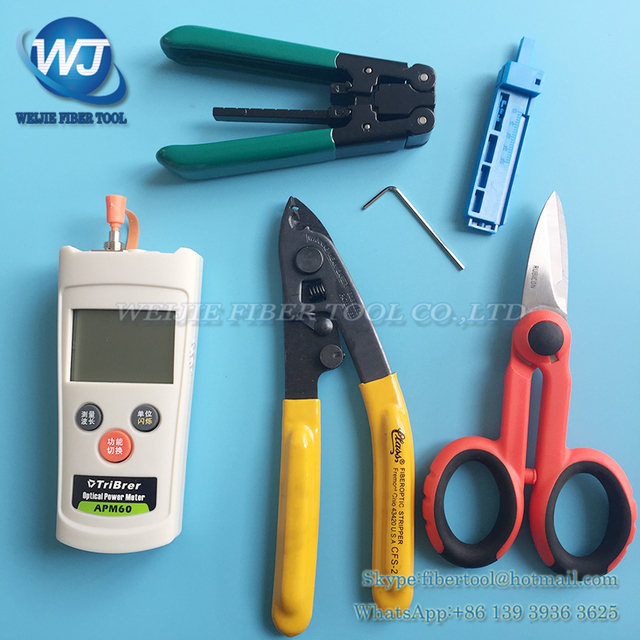 6 pcs Rubber insulated wire stripping pliers+APM60 Optical power meter+CFS-2 Fiber stripping pliers + Kevlar scissors