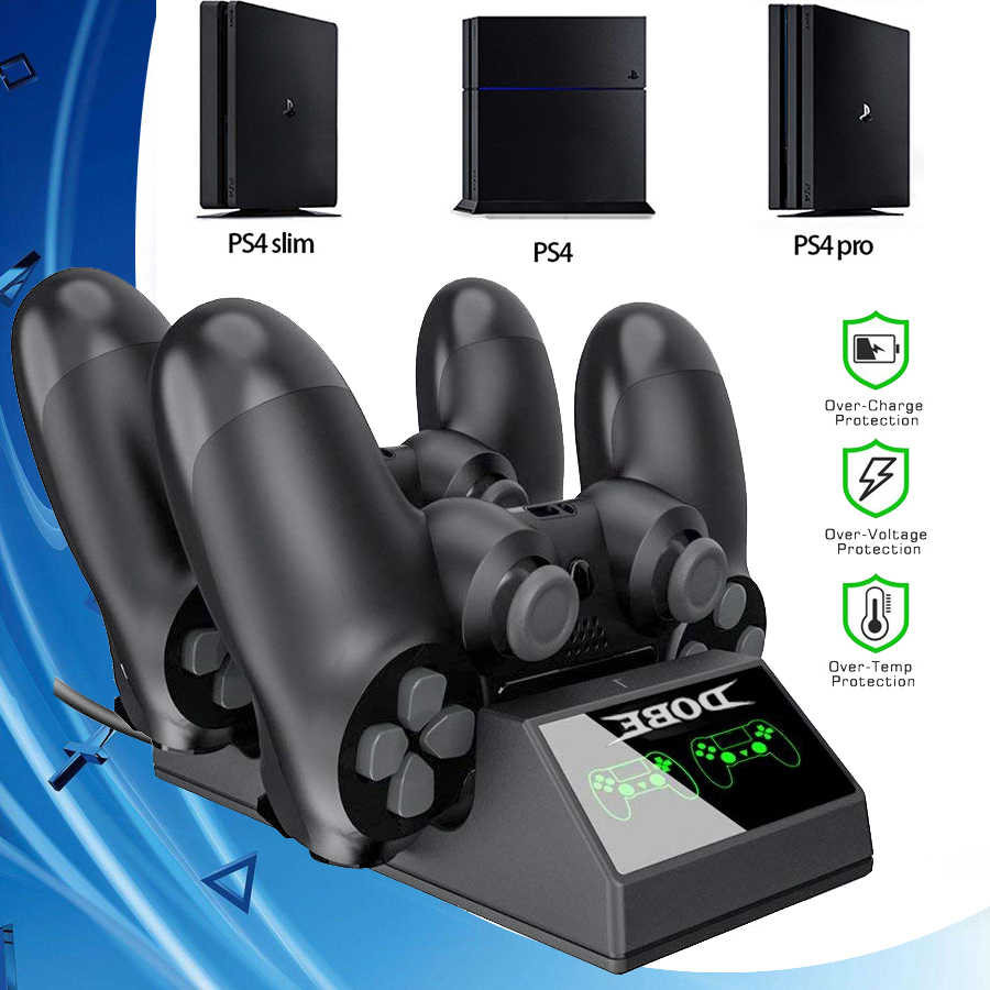 2019 PS4/Pro/Slim Controller Charger Gamepad USB Cepat Pengisian Dock Station Play Station 4 Game Joystick PS 4 Aksesoris