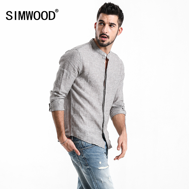SIMWOOD 2018 Autumn Summer 100% Linen Striped Shirts Men Slim Fit Cool breathable Slim Fit Mandarin Collar Casual Shirt CC017034