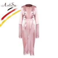 ArtSu Women Sexy High Split Deep V Neck Club Vestido Fashion Pink Tassel Long Satin Party Dress 2019 Female Christmas Maxi Dress