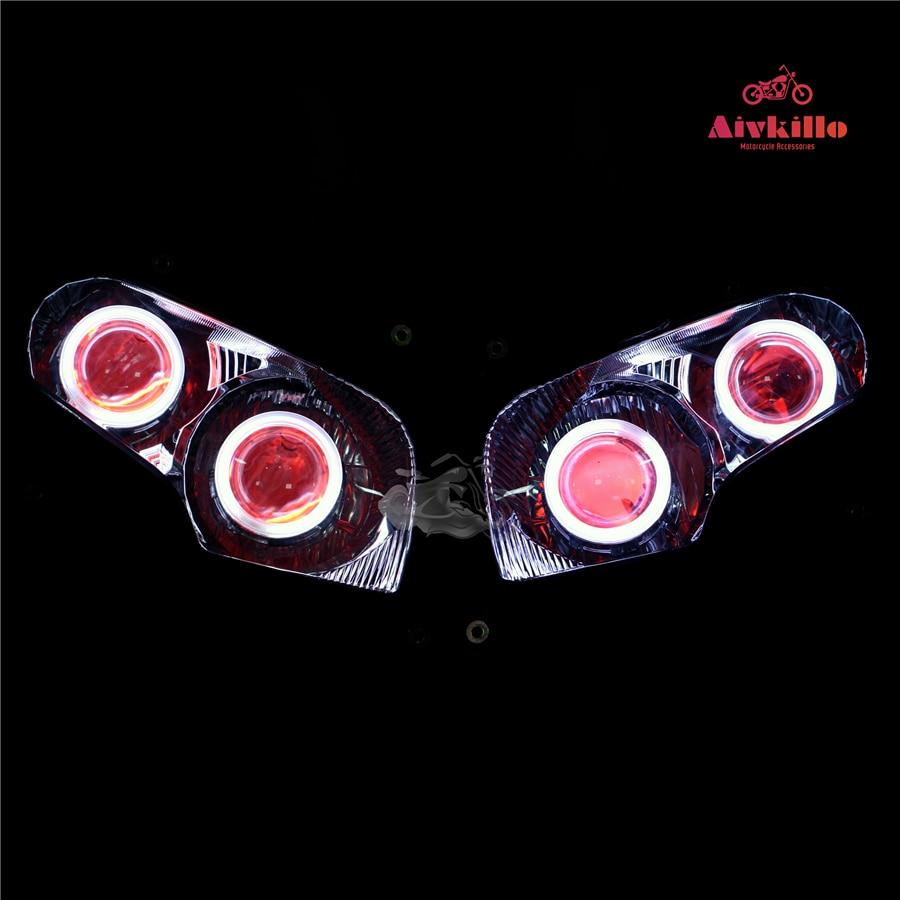 Faro con angel eyes faro Proiettore HID con il progetto fit per Honda GL1800 2001-2017 02 03 04 05 06 08 09