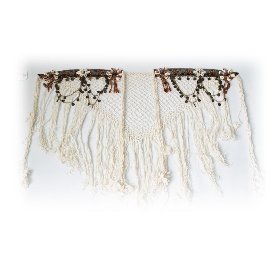 Belly Dance Tribal Hip Scarf White Tassel  Belt For Tribal Style Handmade Dance Accessories