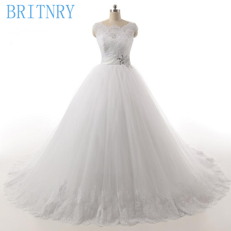 BRITNRY White Ivory Wedding Dresses Lace Appliques Ball Gown Tulle Plus Size Wedding Dress
